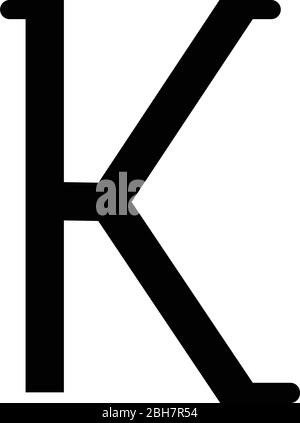 Kappa greek symbol small letter lowercase font icon black color vector illustration flat style simple image - Stock Photo
