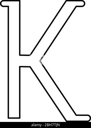 Kappa greek symbol small letter lowercase font icon outline black color vector illustration flat style simple image - Stock Photo