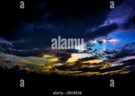 Sunset over Mount Ijen, East Java, Indonesia - Stock Photo