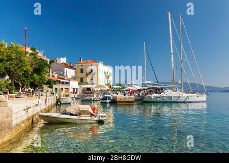 Boats in the harbor, Valun, Cres Island, Kvarner Bay, Croatia - Stock Photo