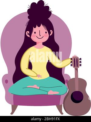 stay at home, young woman in chair with guitar leisure vector illustration - Stock Photo