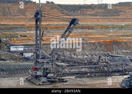 Large excavator in open pit mine Hambach, Rhenish brown coal field, North Rhine-Westphalia, Germany