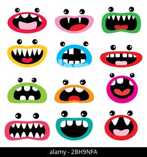 Monster cartoon character  vector icon set, funny faces - open mouth with teeth, tongue and eyes design - Stock Photo