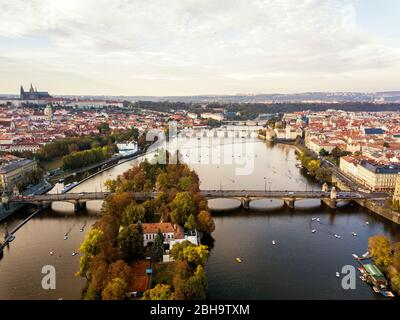 High angle view of river over bridge in city against sky, Prague, Czech Republic - Stock Photo