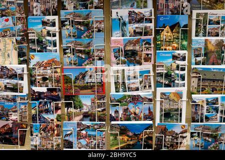 France, Alsace, Alsace Wine Route, Colmar, shop, postcards, outside - Stock Photo