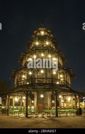 Chinese tower at night - Stock Photo