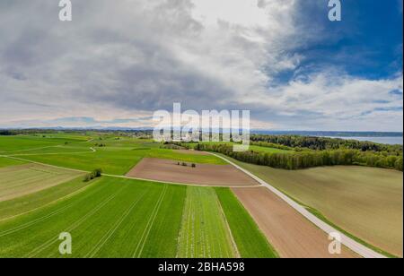 Landscape in spring at Erling - Andechs Abbey, Fünf-Seen-Land, Upper Bavaria, Bavaria, Germany, Europe - Stock Photo