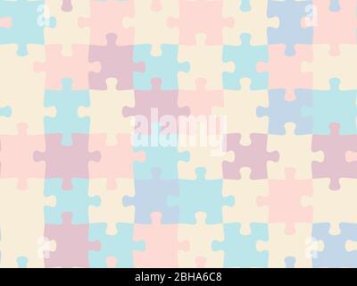 Colorful seamless piece puzzle presentation jigsaw background pattern. EPS 10 - Stock Photo