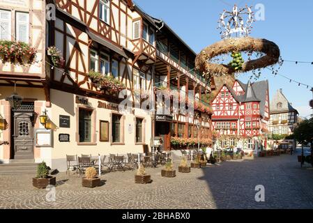 Old marketplace with half-timbered houses in Bacharach am Rhein, Bacharach, Rhine Valley, UNESCO World Heritage Upper Middle Rhine Valley, Rhineland-Palatinate, Germany - Stock Photo