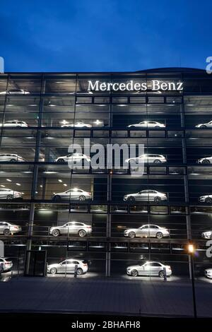 Germany, Bavaria, Munich, Mercedes-Benz branch, exterior, issued cars in six floors - Stock Photo