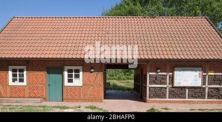 House in the nature reserve Goldenstedter Moor, Goldenstedt, Vechta district, Lower Saxony, Germany, Europe - Stock Photo