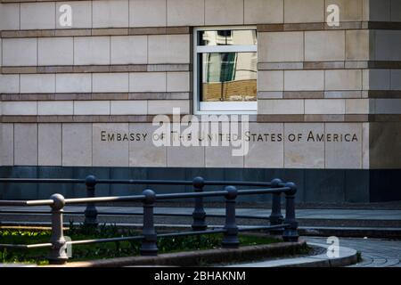 Embassy of the United States of America - A window of the American Embassy in Berlin on Pariser Platz. - Stock Photo