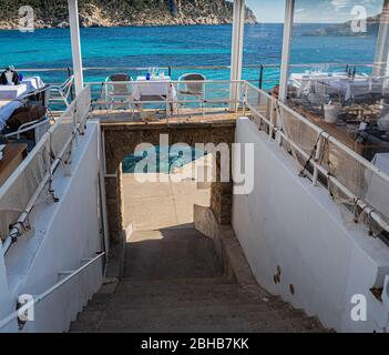Seaside restaurant with breathtaking view in Sant Elm, Mallorca - Stock Photo