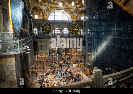 The interior of the Hagia Sophia taken from the second level, once a church, then a mosque and now a museum in Istanbul, Turkey. - Stock Photo