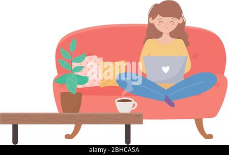 stay at home, woman using laptop sitting on sofa in the living room vector illustration - Stock Photo