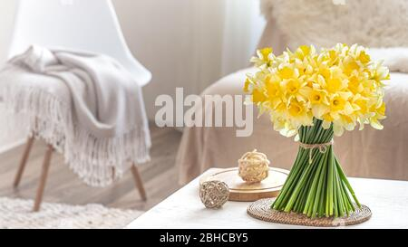 Composition with spring flowers in the interior.