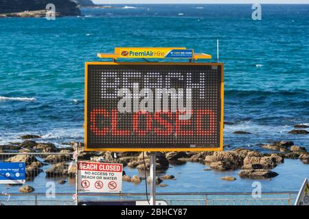Sydney, Australia. Saturday 25th April 2020. Bronte Beach in Sydney's eastern suburbs is closed due to the COVIC-19 pandemic. Credit Paul Lovelace/Alamy Live News - Stock Photo