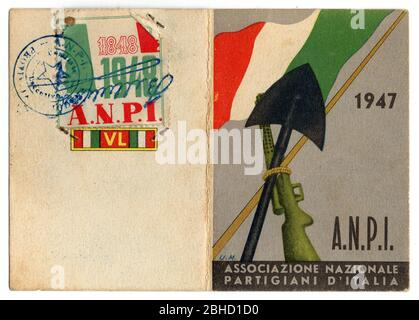 Italian partisans association card from 1947, historical relic Stock Photo