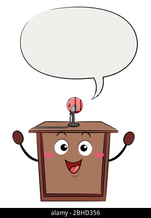 Illustration of a Lectern Mascot with Microphone and Speech Bubble - Stock Photo