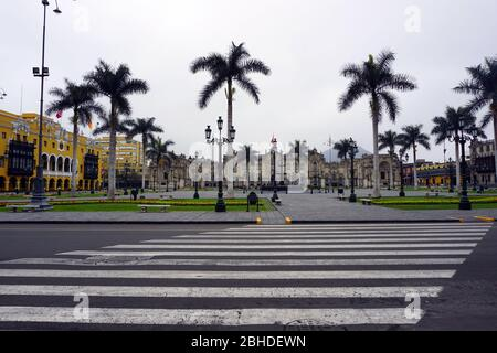 Main square of Lima city, Peru - Stock Photo