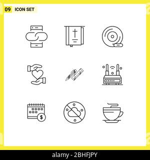 Modern Set of 9 Outlines and symbols such as hand, heart, religion, storage device, dvd Editable Vector Design Elements - Stock Photo
