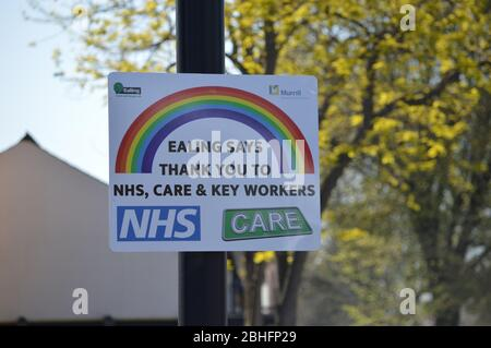 London, UK. 25 April, 2020. A message from Ealing council thanking the NHS, Care & Key Workers during the coronavirus pandemic. - Stock Photo