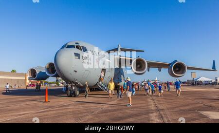 McDonnell Douglas/Boeing C-17 Globemaster III at 2019 Wings Over Houston airshow at Ellington Field In Houston, Texas. - Stock Photo