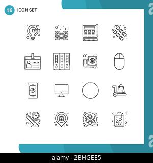 16 Universal Outlines Set for Web and Mobile Applications card, sweet, blueprint, marshmallow, web Editable Vector Design Elements - Stock Photo