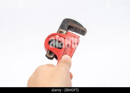 pipe monkey wrench on a white background - Stock Photo