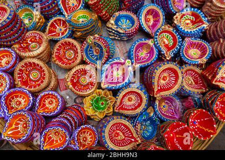 Mumbai / India 25 October 2019 Decorative clay diwali Diya or Oil Lamps for sale at market in Mumbai Maharashtra India - Stock Photo