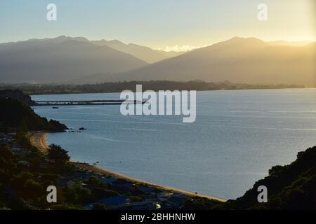 Sunset at Tata Beach and Port Tarakohe, New Zealand, South Island, Golden Bay. - Stock Photo