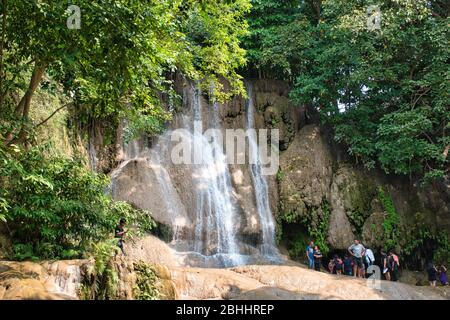 Sai Yok Noi waterfall, also known as Khao Phang Waterfall in the Tenasserim Hills, Sai Yok District of Kanchanaburi Province, Thailand - Stock Photo