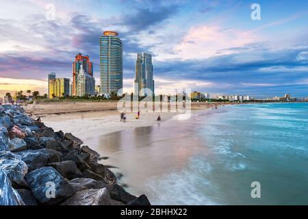 Miami, Florida, USA at South Beach at dusk.