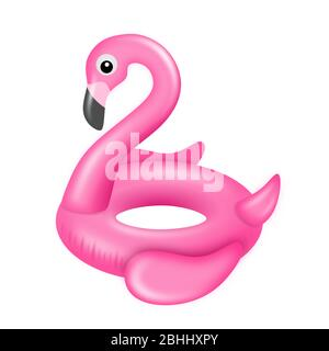 Isolated flamingo swimming ring. Inflatable rubber toy. - Stock Photo