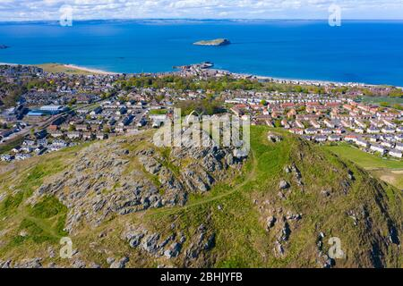 Aerial view of North Berwick from top of Berwick Law in East Lothian, Scotland, UK - Stock Photo