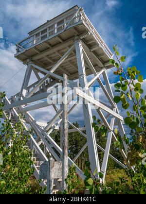 Ute Mountain Fire Lookout Tower National Historic Site, Ashley National Forest near Manila, Utah. - Stock Photo