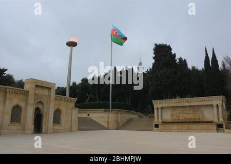 Sahidlar Xiyabani, also known as Martyrs' Lane and Alley of Martyrs, is a cemetery, memorial and viewpoint in Baku, Azarbaijan. - Stock Photo