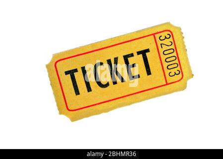 One yellow ticket on a white background, close up. - Stock Photo