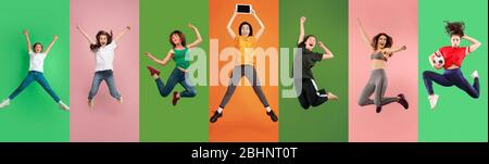 Young emotional people jumping high, look happy and cheerful on multicolored background. Celebrating, winning women. Human emotions, facial expression concept. Trendy colors. Creative collage. - Stock Photo