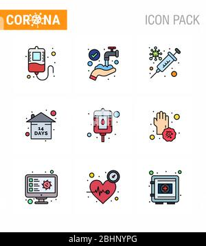 Simple Set of Covid-19 Protection Blue 25 icon pack icon included packet, blood, protection, stay home, event viral coronavirus 2019-nov disease Vecto - Stock Photo