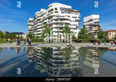 MILAN, ITALY - MAY 2017; The New Residential Area In The City Life District - Stock Photo