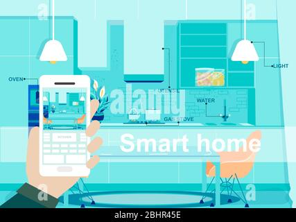 Man controlling Smart home technology with smartphone