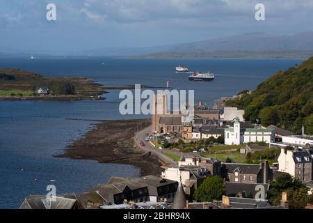 Oban Bay with MV Isle of Mull, Argyll - Stock Photo