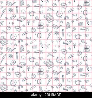 Vector seamless pattern with education back to school icons. Doodle student background. - Stock Photo