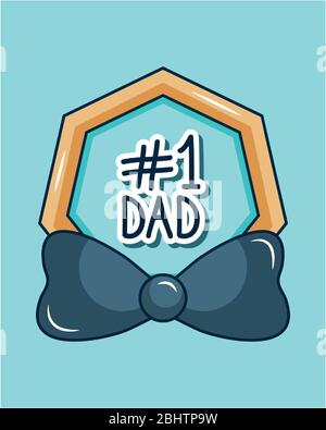 Happy fathers day concept, number 1 dad and bow tie icon over blue and white background, colorful design, vector illustration