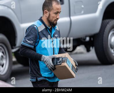 Berks County, Pennsylvania, USA, April 26, 2020-Amazon delivery person wearing gloves packages on suburban street - Stock Photo