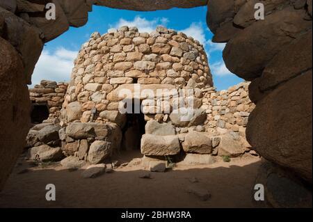 Nuraghe La Prisgiona, Valle di Capichera, Arzachena, Provinz Sassari, Sardinien, Italien, Europa - Stock Photo