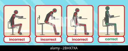 Correct and incorrect positions for sitting on the chair - Stock Photo