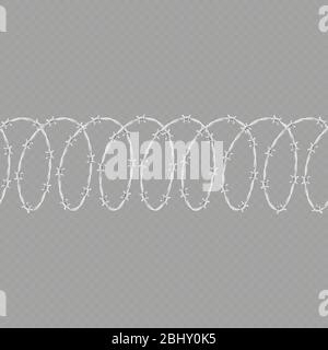 Set of spiral shape barbed wire isolated on transparent background. Horizontal seamless pattern with twisted barbwire. EPS 10 - Stock Photo