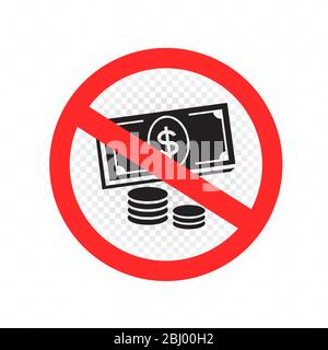 no cash and coins money sign symbol - Stock Photo